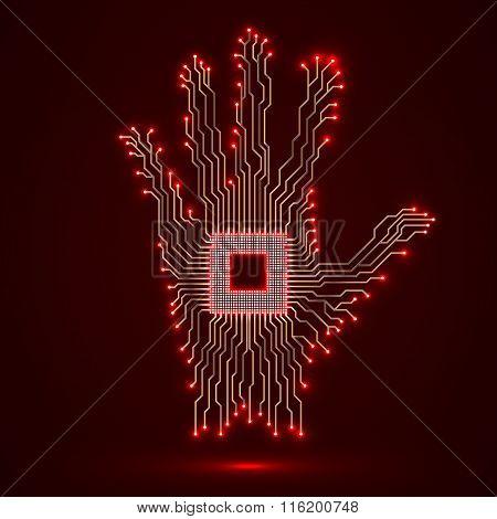 Neon hand. Cpu. Circuit board