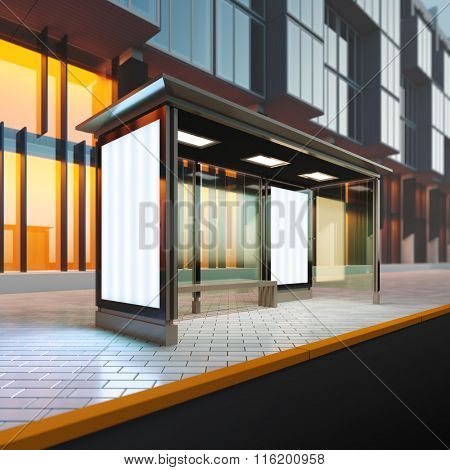 A 3d render illustration mockup of modern bus stop station with blank citylights. Billboard copy space empty to place advertisement, poster, image, text or logo.