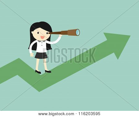 Business concept, Business woman is using her telescope while standing on the up chart.