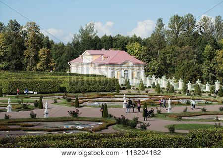 People go to a museum in the palace park Oranienbaum. Leningrad region