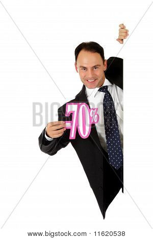 Man,  Seventy Percent Discount Sign