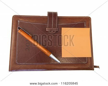 Isolated Beautiful, Brown Organizer, Pen, Notebook, Top View
