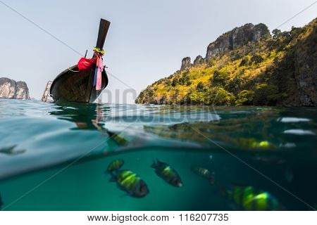 Split shot with fish underwater and long tail traditional boat on the surface. Thailand