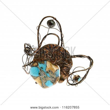 flamboyant ring, brooch isolated on white background