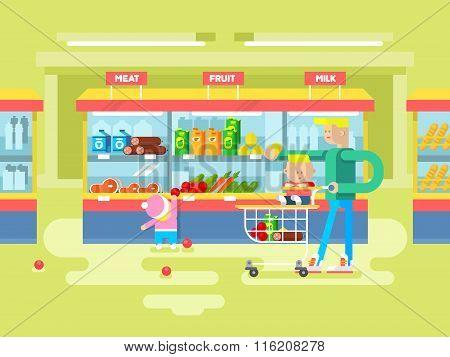 Supermarket design flat
