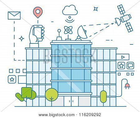 Vector Illustration Of Smart Modern City And Internet Of Things, Future Technology For Living. Smart