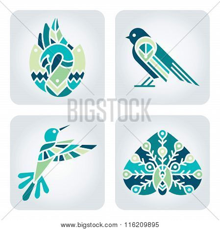 Birds Mosaic Icons