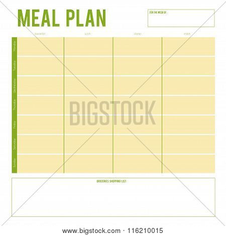 Meal Plan for a week, note page. Vector printable boxes,half boxes, in flat colors for planners, Pri