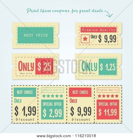 Set of Coupon, offers and promotions vector illustration.