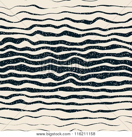 Vector Seamless Navy White Horizontal Hand Drawn Distorted Lines Retro Grunge Pattern
