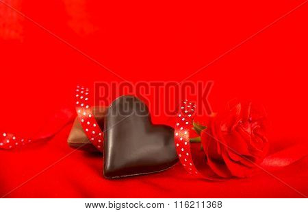 Chocolate candies in a heart shape