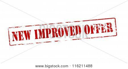 Rubber stamp with text new improved offer inside vector illustration