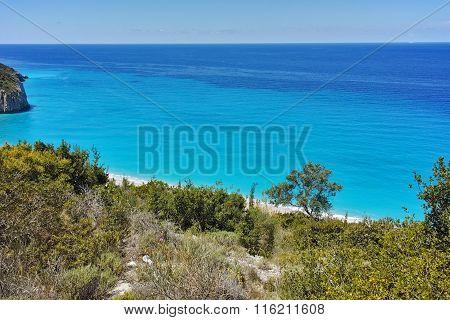 Blue Waters of Milos Beach, Lefkada, Ionian Islands, Greece