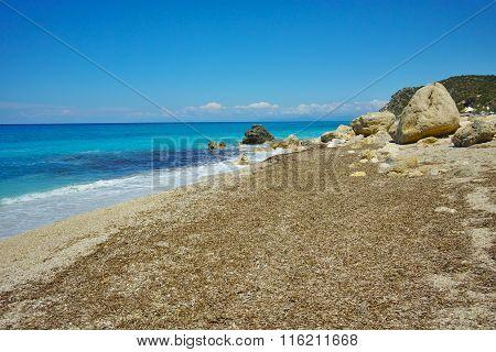View of Katisma Beach, Lefkada, Ionian Islands, Greece