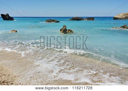 Blue waters of Megali Petra beach, Lefkada, Greece