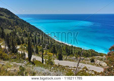 Panorama of blue waters of Ionian sea, Lefkada, Greece