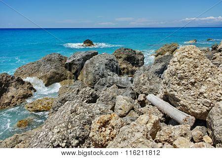 Rocks at Megali Petra beach, Lefkada, Greece