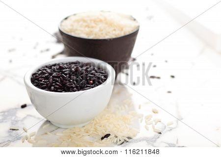 Rice On Marble Table.