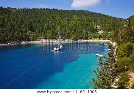 Panorama of foki fiskardo beach, Kefalonia, Ionian Islands, Greece