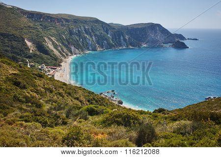 Panorama of Petani Beach, Kefalonia, Ionian Islands, Greece