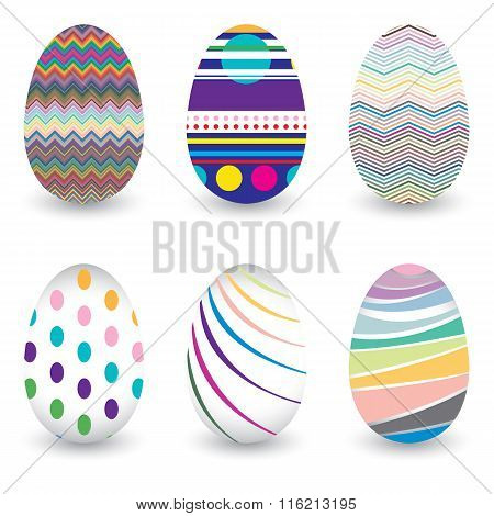 Easter day  for egg isolated on vector design. Colorful Chevron pattern for eggs. Colorful egg isola