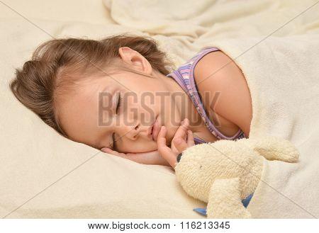 Little girl sleeping with  toy