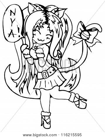 Monochrome Cat Girl Anime Manga Kawaii Cartoon Vector Isolated