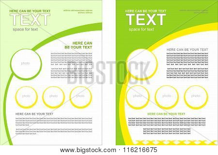 Set of vector brochure with the spring theme, with a predominance of green and light green colors. S