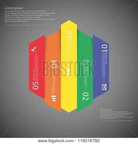 Hexagonal Infographic Template Vertically Divided To Five Colorful Parts