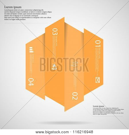 Hexagonal Infographic Template Vertically Divided To Four Orange Parts