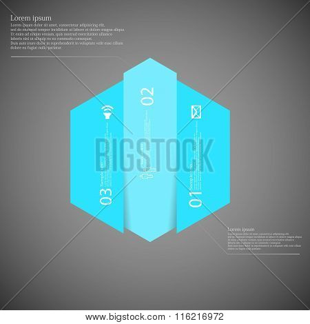 Hexagonal Infographic Template Vertically Divided To Three Blue Parts