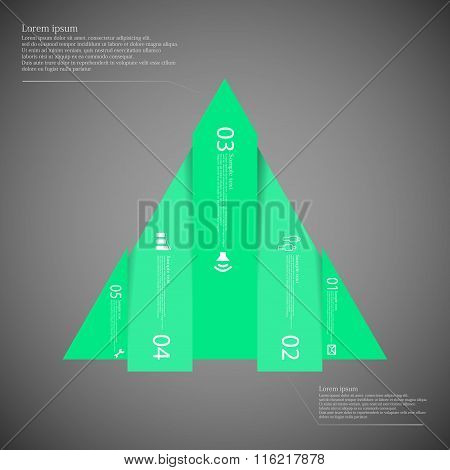 Triangle Infographic Template Vertically Divided To Five Green Parts