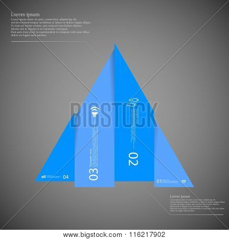 Triangle Infographic Template Vertically Divided To Four Blue Parts