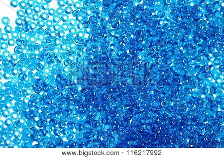 Blue glass beads background
