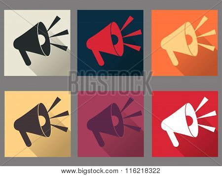 Megaphone. Speaker. Icons In A Flat Style With A Long Shadow. Vector Illustration.