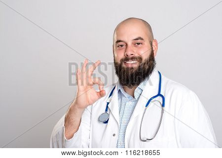 Bearded Doctor In White Coat- All Right