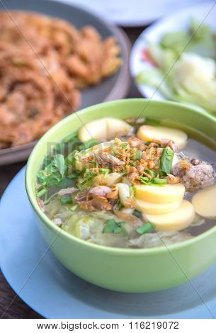 Thai Food, Famous Tofu Soup With Vegetables And Pork