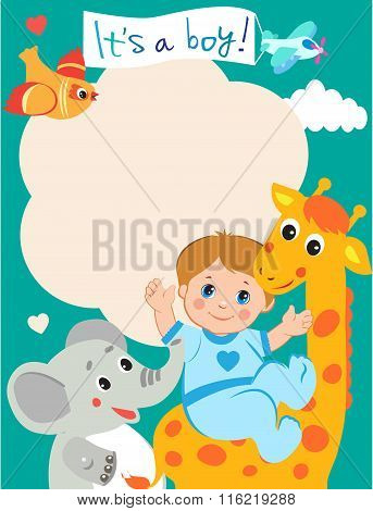 Baby Boy Shower Invitation Card With Funny Giraffe, Elephant And Bird. Vector Cartoon Illustration. Invitation Card Template. Invitation Card Design. Invitation Card Ideas. Invitation Card Sample.