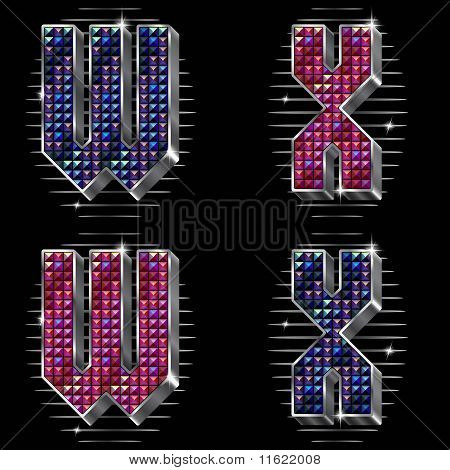 Vector Volume Letters W,X With Shiny Rhinestones