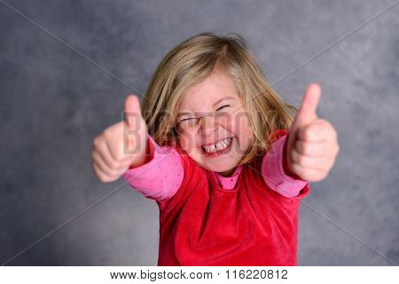 Funny Girl With Thumbs Up