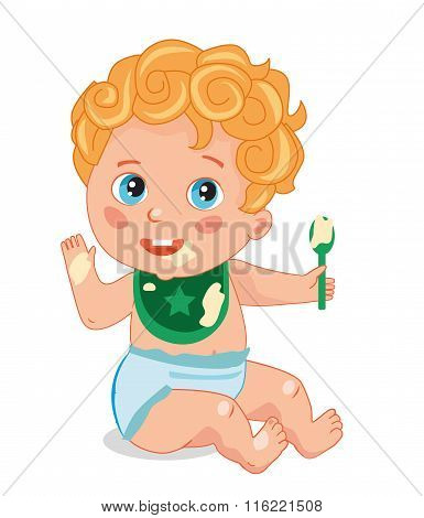 Cute Little Baby With A Spoon. Baby Eats Porridge. Vector Cartoon Illustrations. Cute Baby In Diapers. Baby Human. Baby Geniuses In Diapers. Fed Baby. Baby Games. Healthy Child. Ruddy Child.