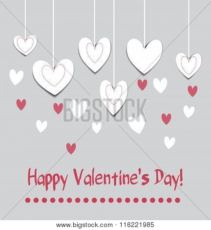 Happy valentine's day card with paper heart wallpaper. Greeting card,poster,invitation,sticker and a