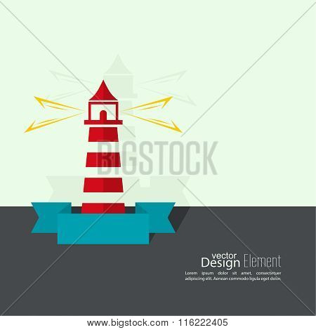 Abstract background with  luminous lighthouse