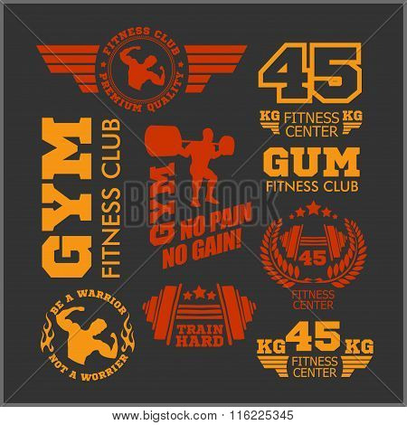 Set of sports and fitness logo. Gym logotypes. Athletic labels  badges.