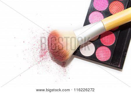 Pink Eyeshadows, Big Cosmetic Brush And Blush On White Background