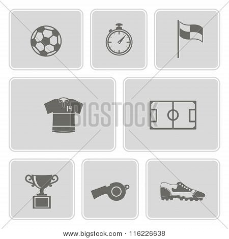 monochrome set with soccer icons