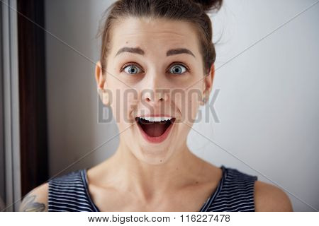 Surprise Astonished Woman. Closeup Portrait Woman Looking Surprised In Full Disbelief Wide Open Mout