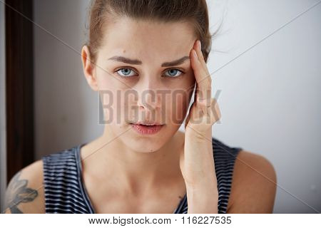 Closeup Portrait Young Upset Sad Woman Thinking Deeply About Something With Headache Holding Her Han