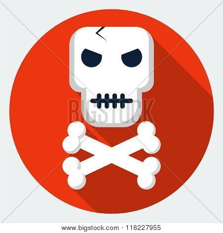 Vector skull and crossbones icon