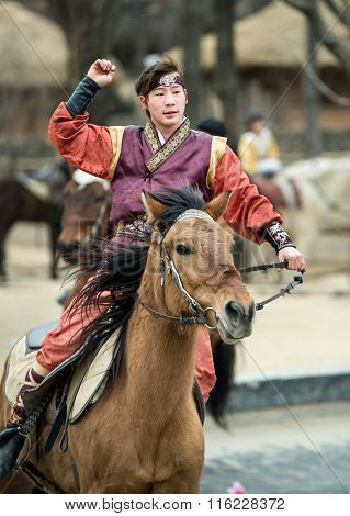 Seoul, South Korea - January 28, 2016: Participant A The Equestrian Feats Act, A Short Acrobatic Hor